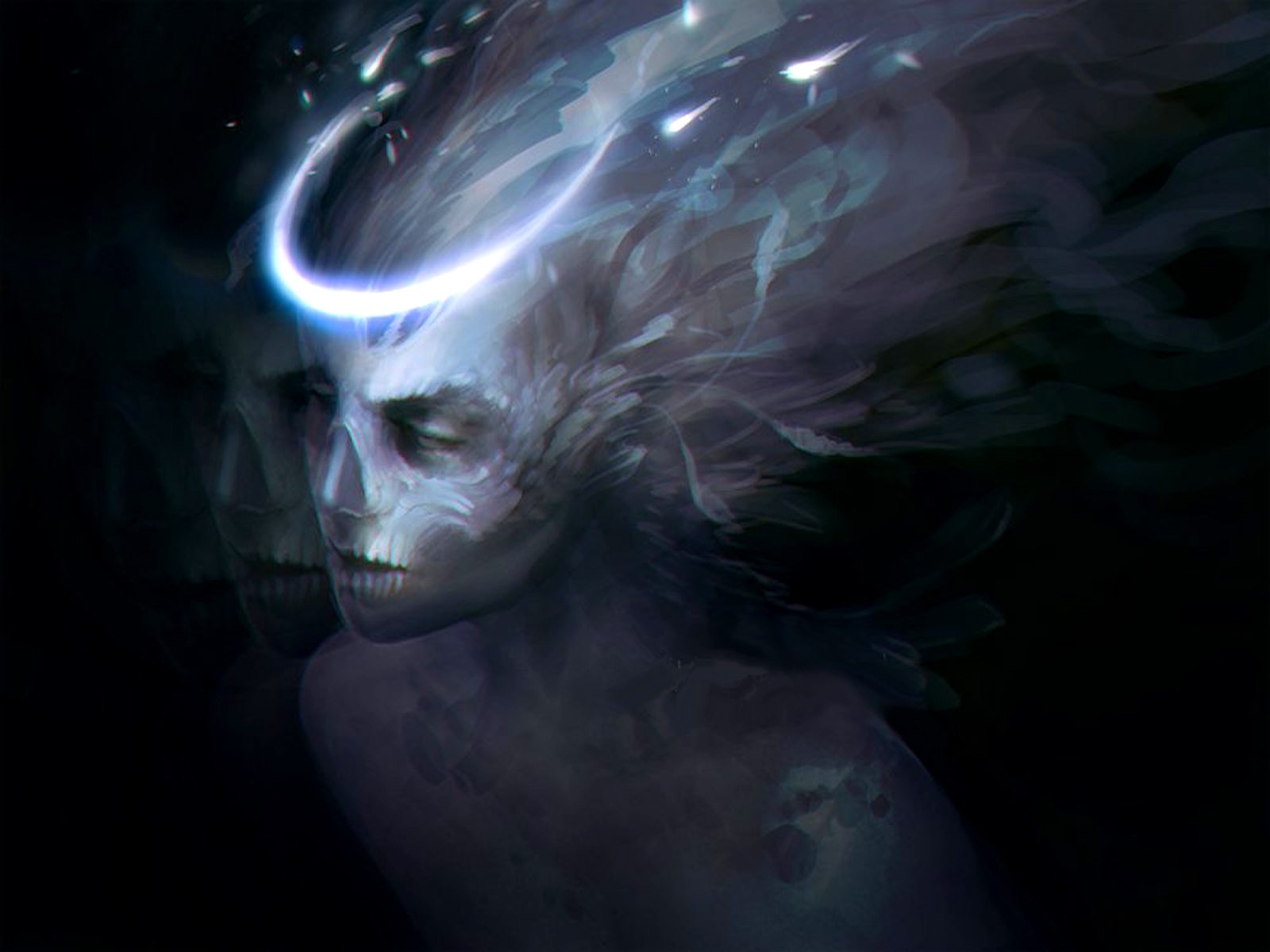fantasy art skull witch face evil angels gothic occult demon wallpaper 1600x1200