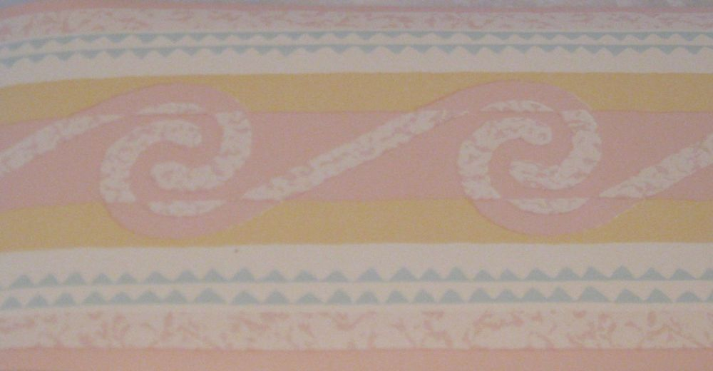 Blue Yellow Pink Geometric Waves White Wallpaper Border EH99974 Girls 1000x520