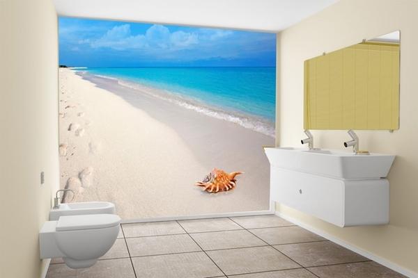 small bathroom decoration ideas photo wallpaper beach sea foot prints 600x400