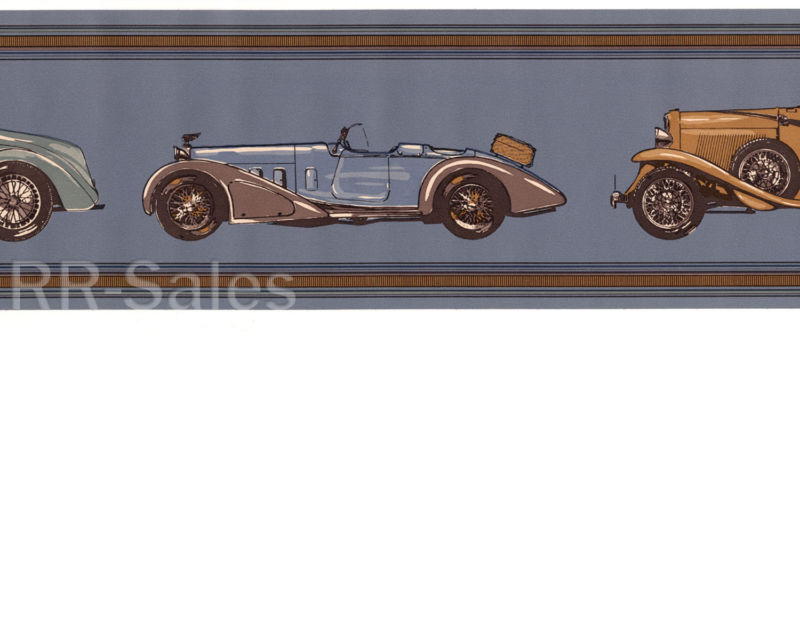 Man Cave Blue Cars Antique Automobile Brown Boys Wallpaper Wall Border 800x640
