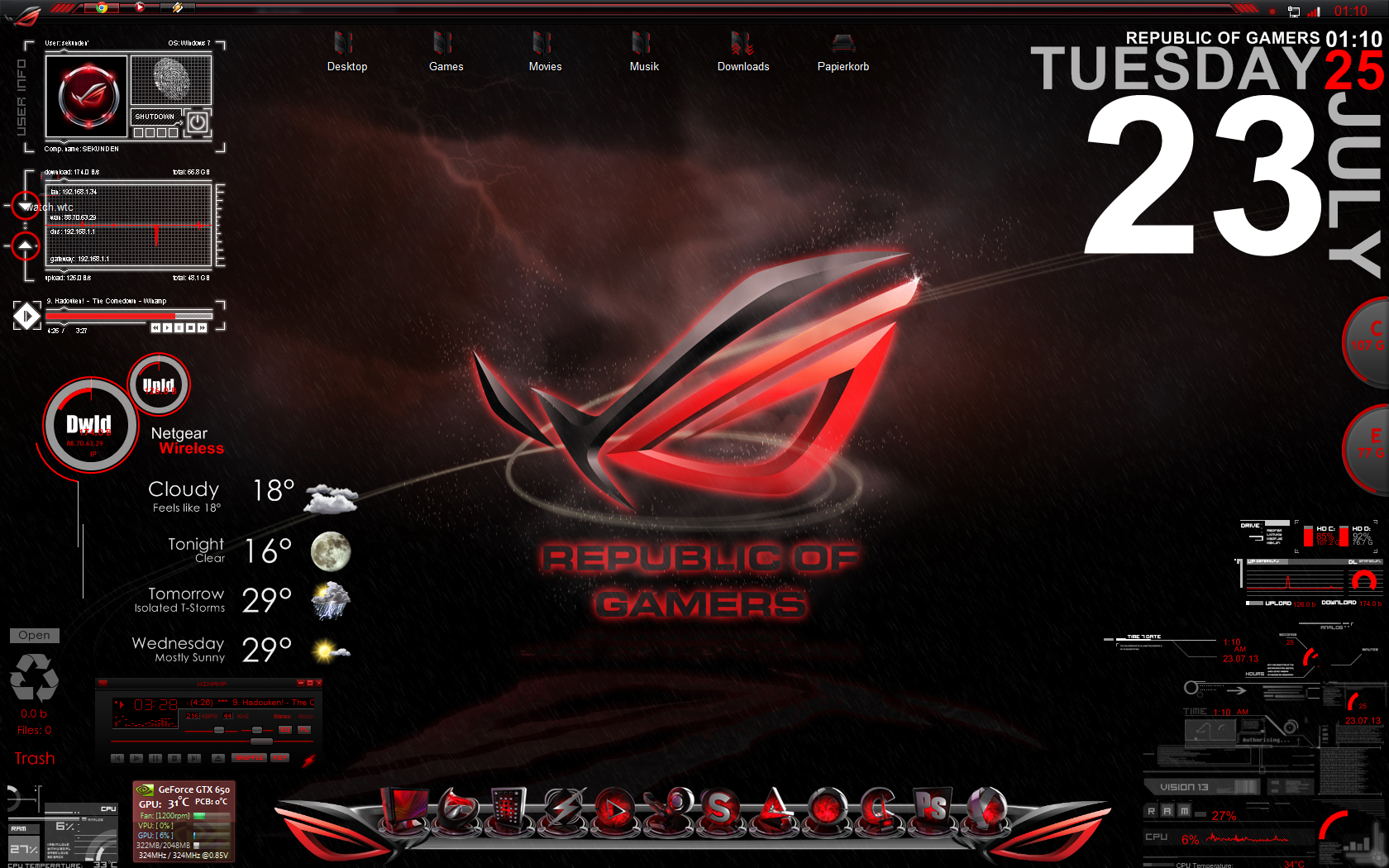 Asus Republic Of Gamers Desktop Screen by sekunden1337 1680x1050