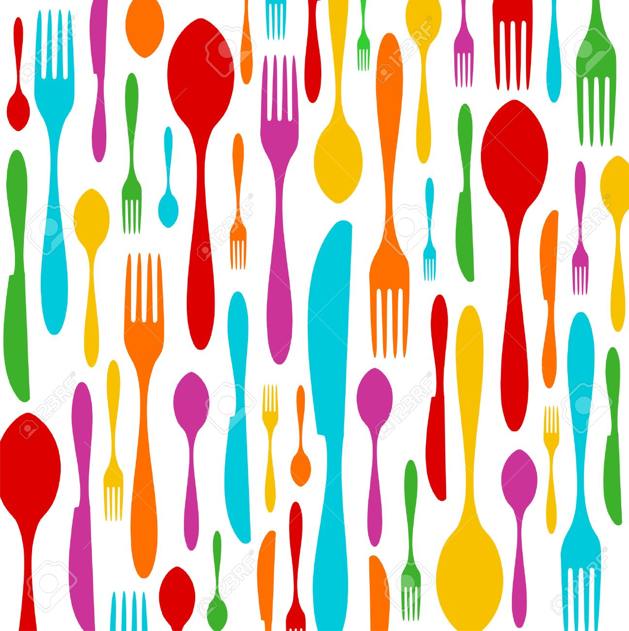 Cutlery Colorful Silhouettes Background Spoon Knife And Fork 1296x1300