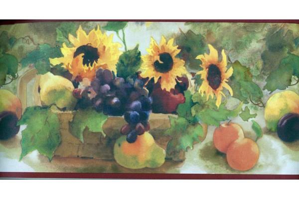 Home Sunflower Fruit Basket Wallpaper Border 600x400