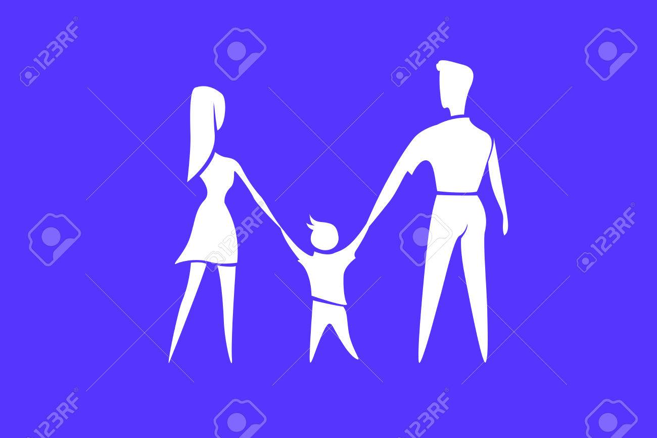 Happy Family Parents With Child White Silhouette On Blue 1300x866