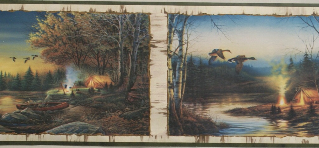 CAMPING IN THE GREAT OUTDOORS WALLPAPER BORDER