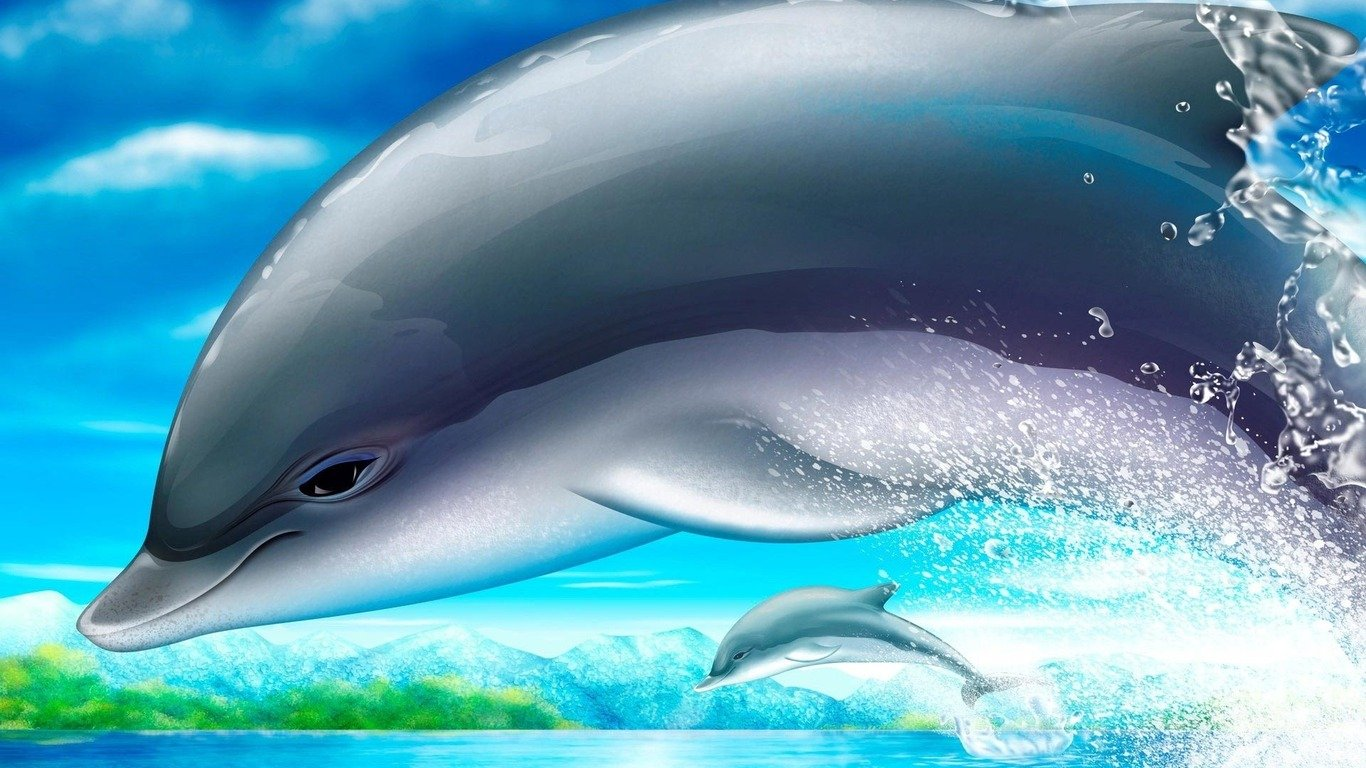 Dolphins wallpaper 769 1366x768