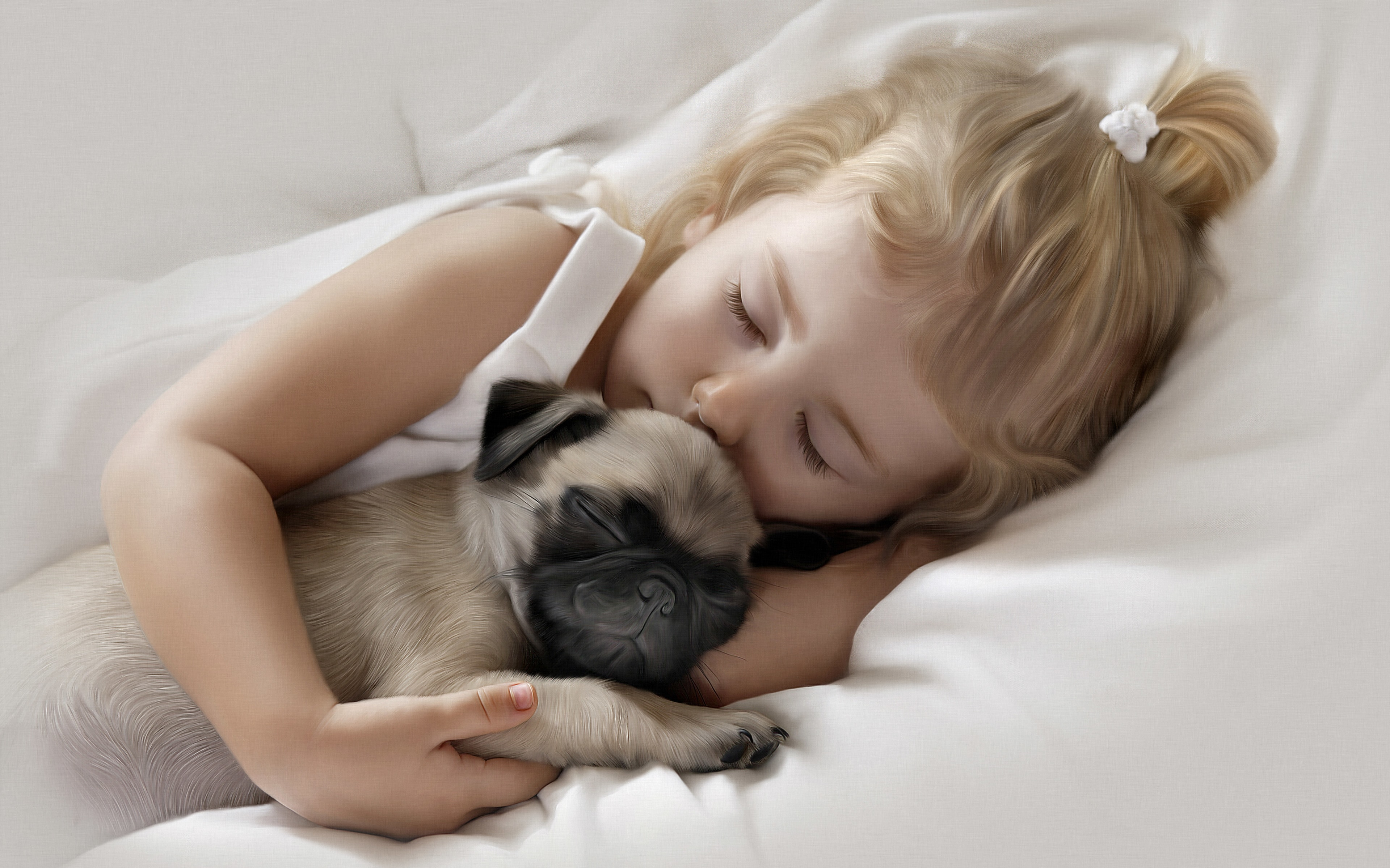 Adorable little girl sleeping pug puppy 1219 Wallpapers and 3840x2400