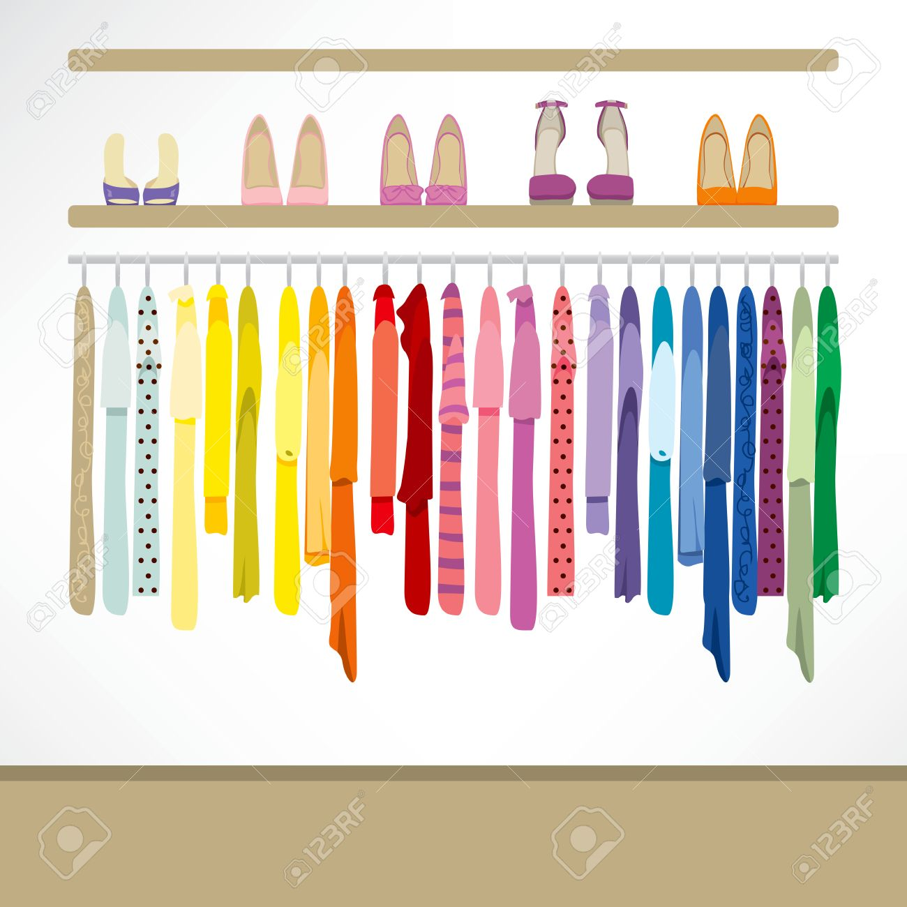 Fashion Shop Background With Clothing On Hangers Shirts Dresses 1300x1300