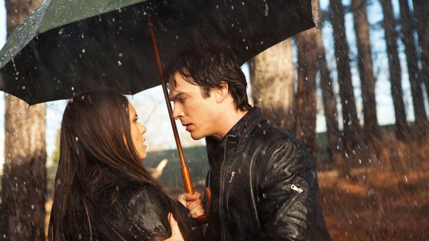 stuffpoint the vampire diaries images wallpapers damon and elena tweet 1366x768