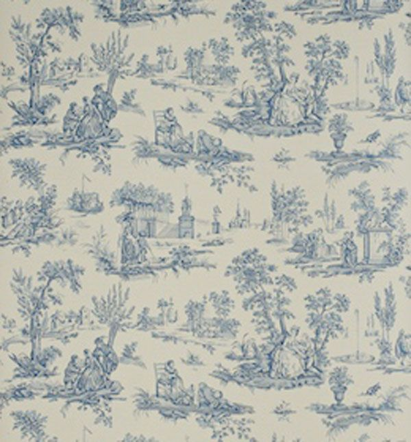 Blue Willow Fabric With Cream Background Sanderson Courting Toile 600x645