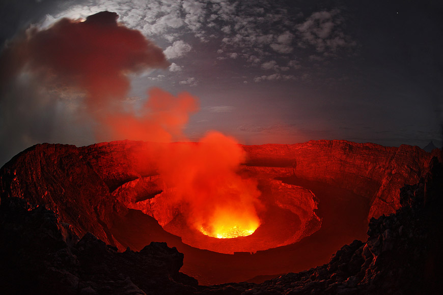 Lava lake by moonlight in Mount Nyiragongo Democratic Republic of 870x580