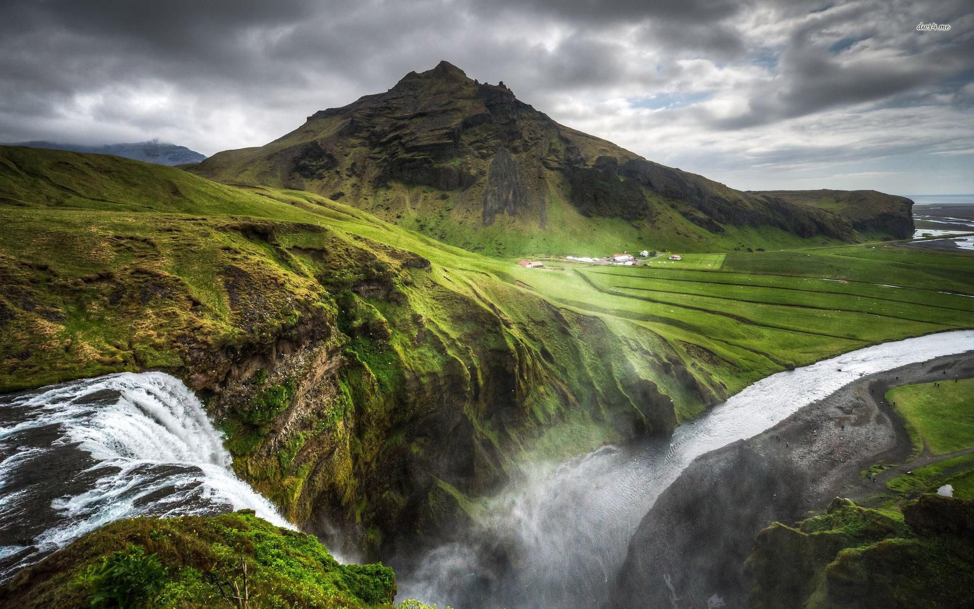 Skogafoss waterfall Iceland wallpaper 1920x1200 1920x1200