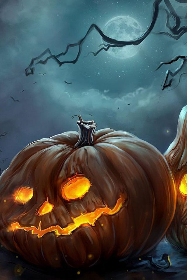 Art Halloween Night Pumpkins Mobile Wallpaper   Mobiles Wall 640x960