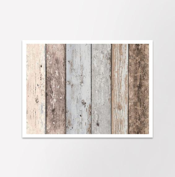 Blue Grey Brown Distressed New England Wood Panel Wallpaper I 565x570
