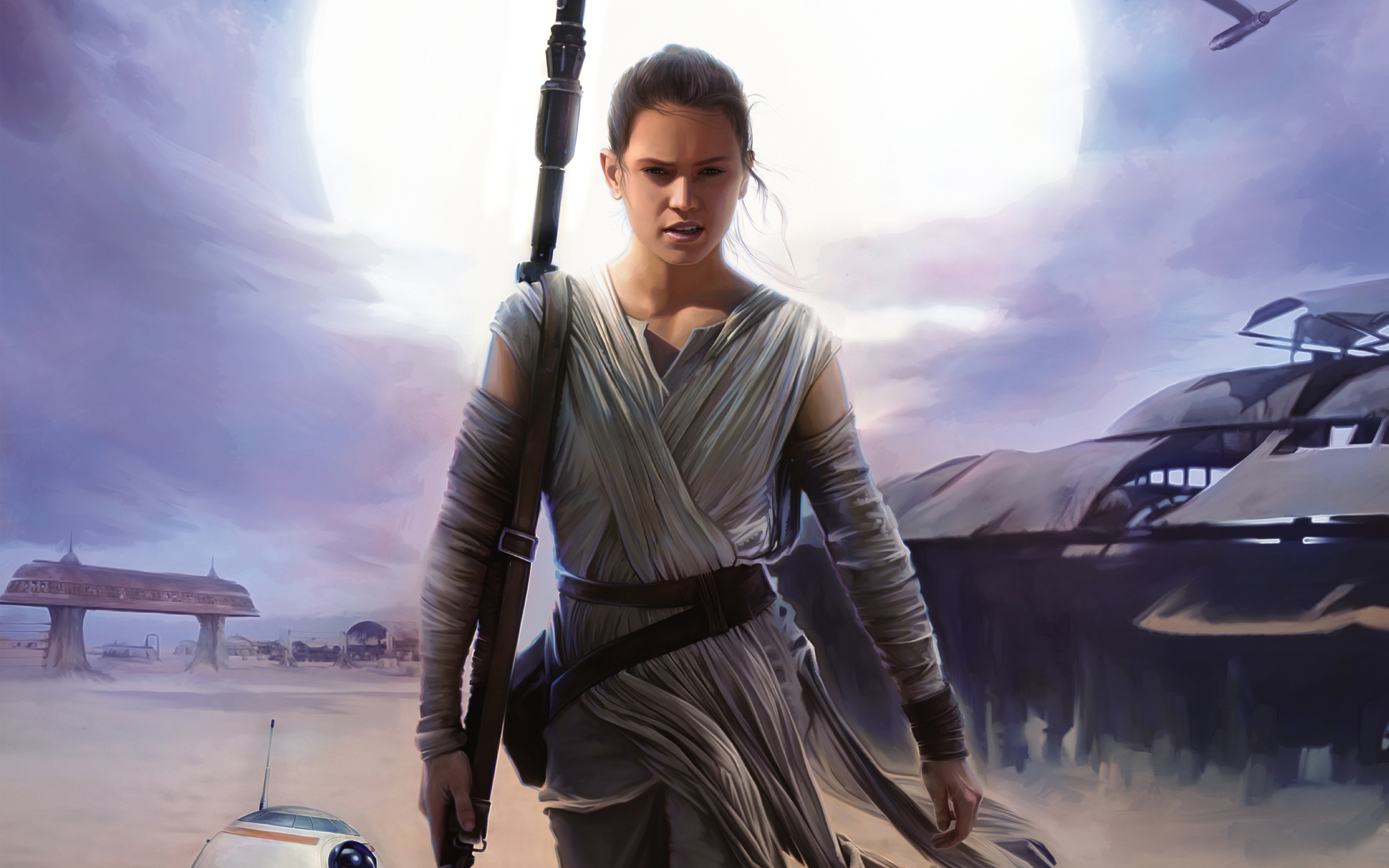 Rey In Star Wars The Force Awakens Retina Wallpapers 2880x1800