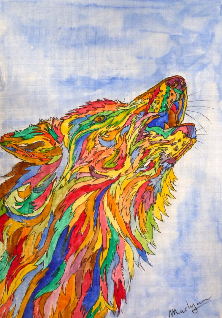 Trippy Wolf Pictures Howling wolf by marr me 748x1068