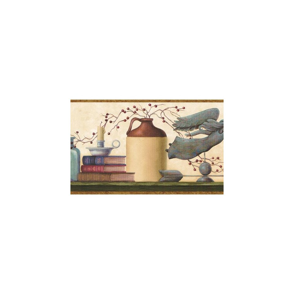 Brown and Blue Country Shelf Wallpaper Border Home Kitchen 960x960