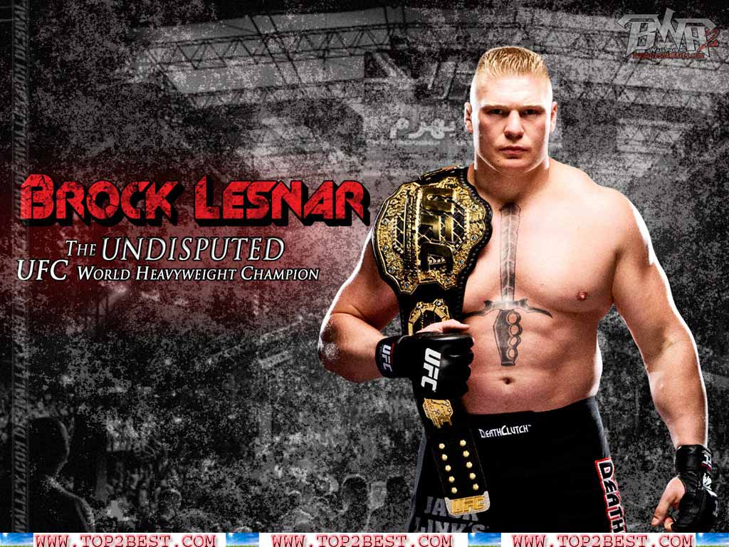 Brock Lesnar with UFC World Heavyweight Champion 1024x768