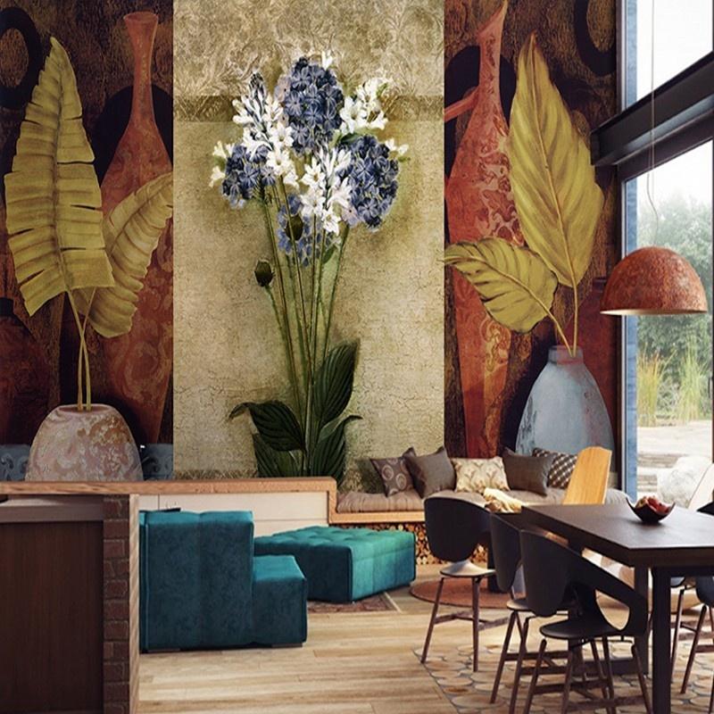 Closeout Wallpaper Vintage Banana Leaf European Oil Painting Mural 800x800