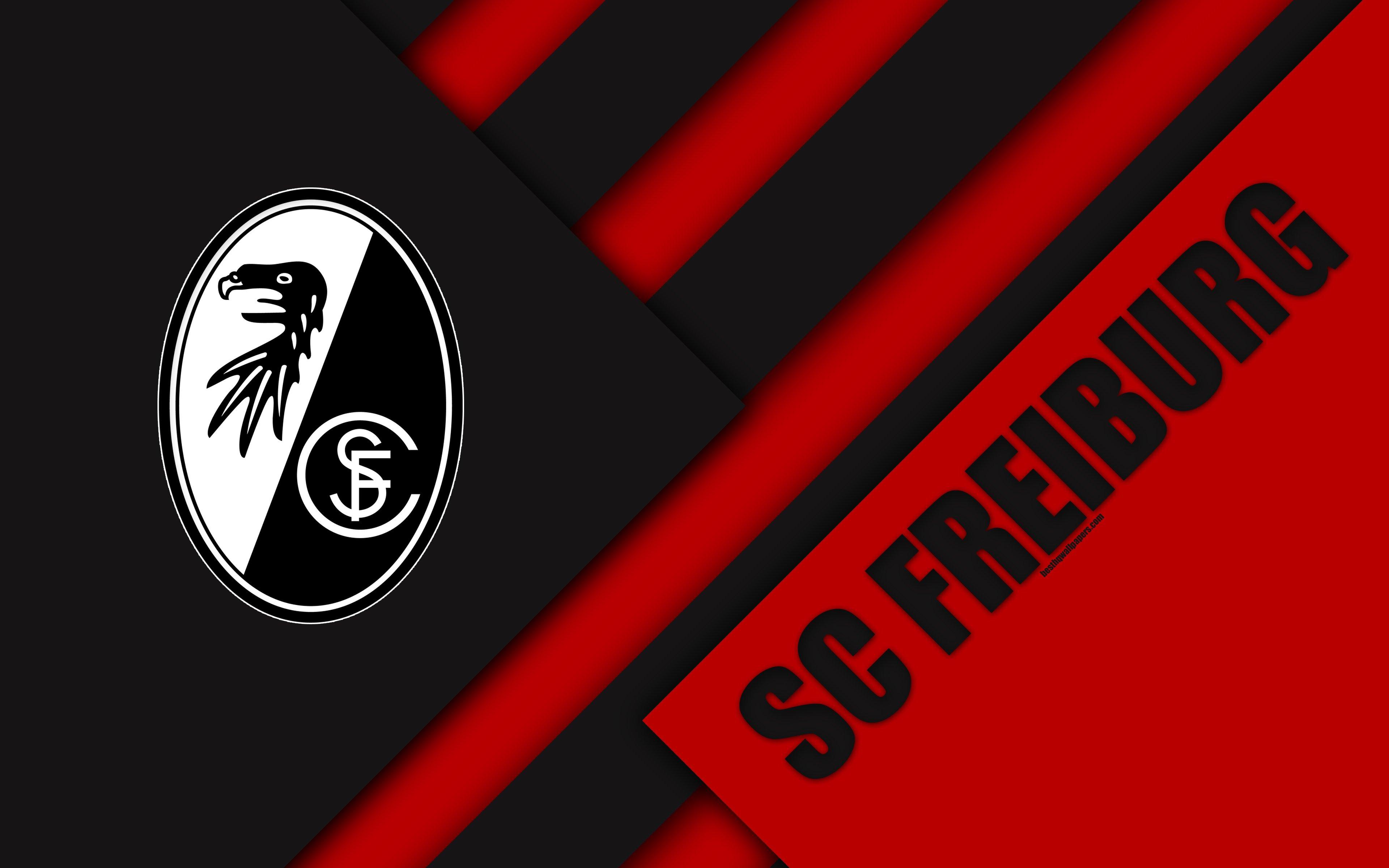 Download wallpapers SC Freiburg 4k material design emblem 3840x2400
