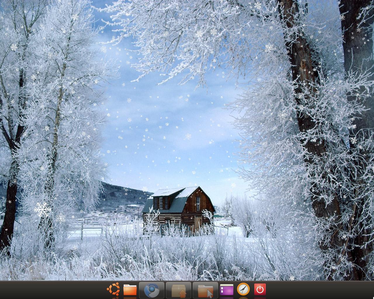 Customize Falling SnowLeavesObjects on Ubuntu Background Wallpaper 1280x1024