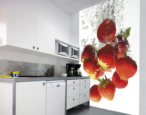 Photo wall mural STRAWBERRY BATH 200x280 Kitchen Wallpaper Wall art 510x400