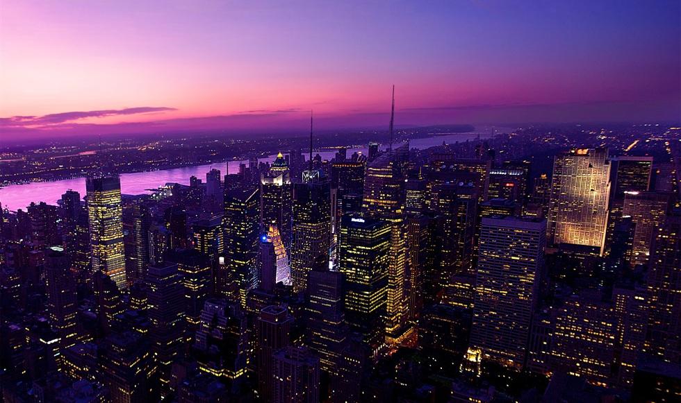Himmel Blick auf New York City Lights Desktop Hintergrund 980x581