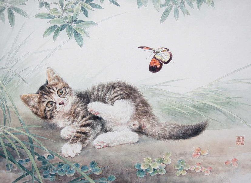 Kitten and butterfly wallpaper   ForWallpapercom 828x606