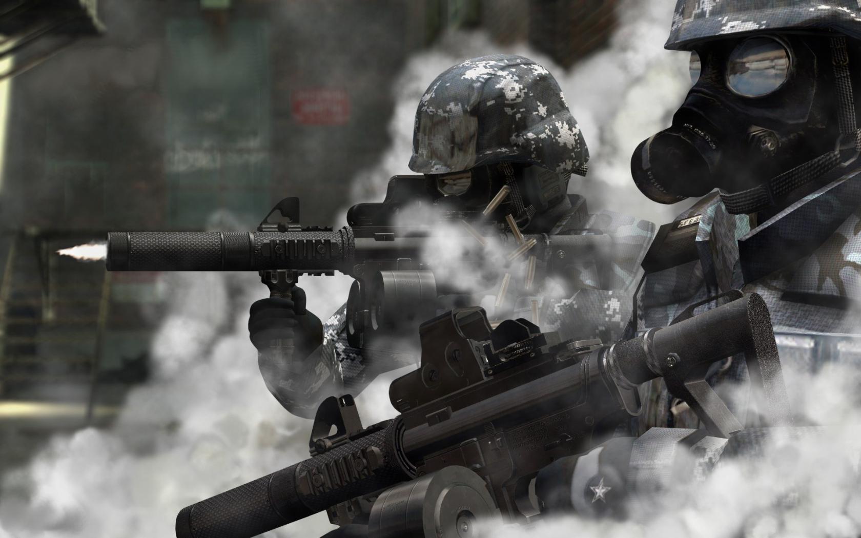 Soldiers guns gas masks wallpaper 1680x1050 61427 WallpaperUP 1680x1050