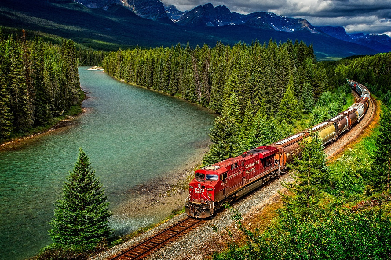 Desktop Wallpapers Banff Canada Locomotive Nature Parks Trains 1280x854