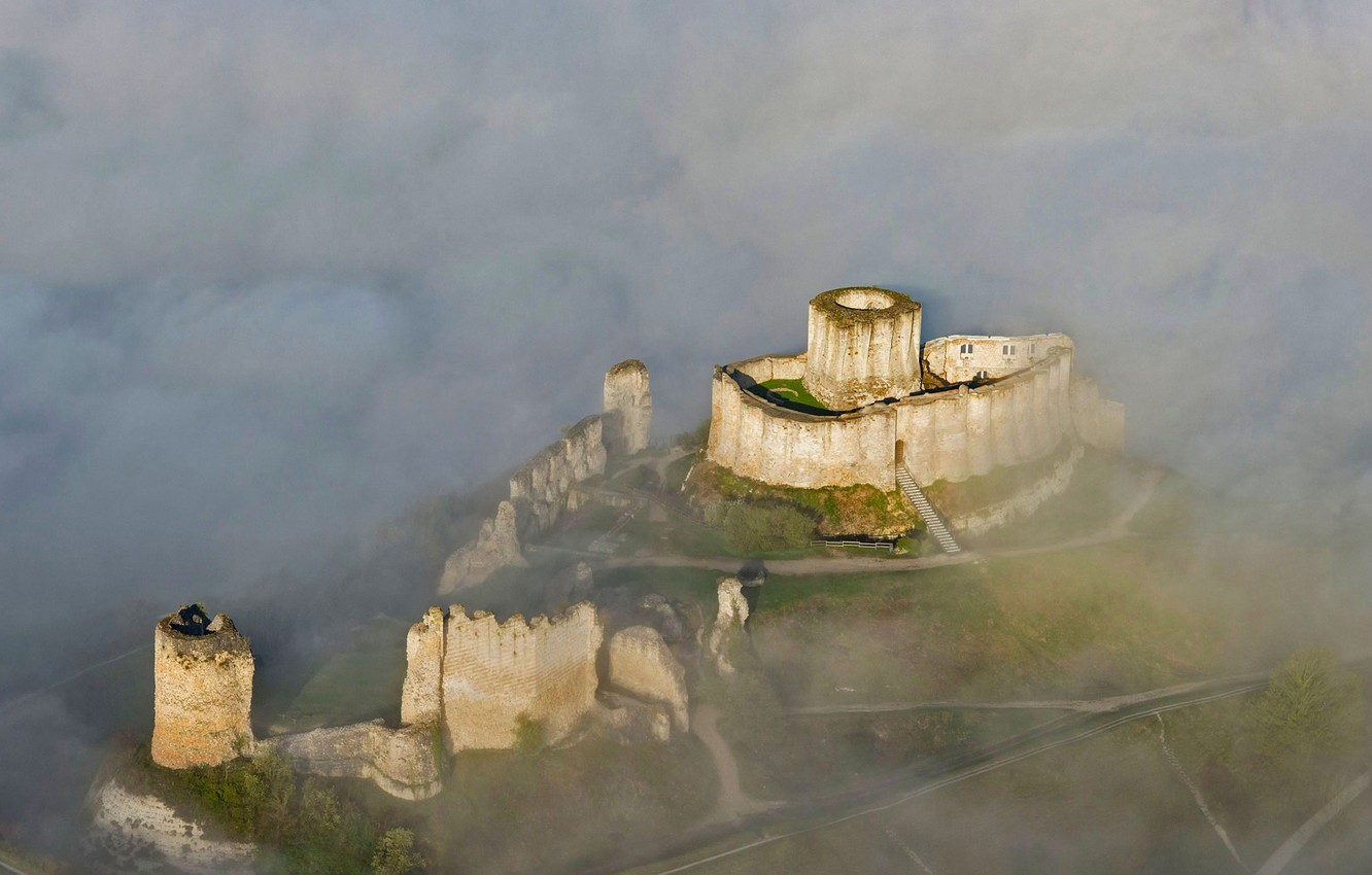 Wallpaper clouds France mountain Normandy Les Andelys the 1332x850