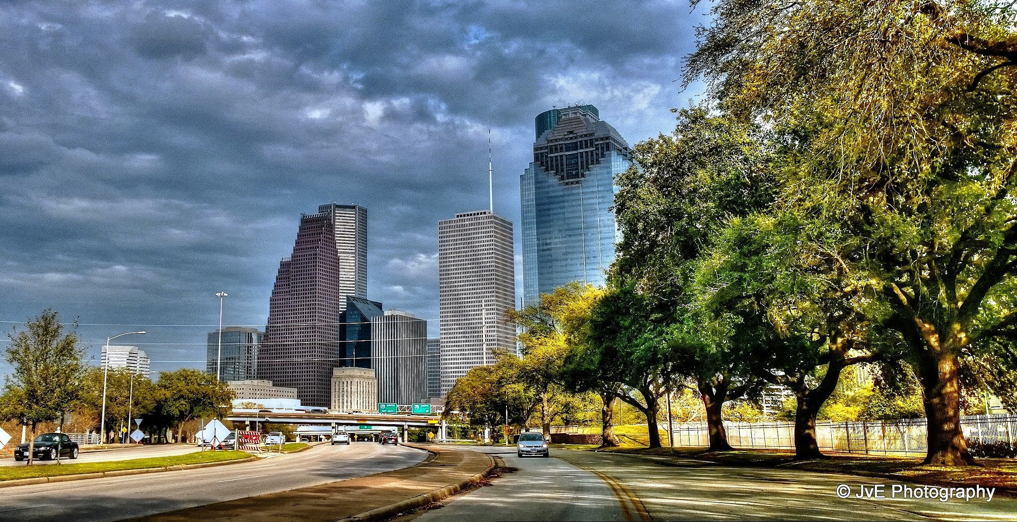 Houston architecture bridges cities City texas Night towers buildings 2048x1051