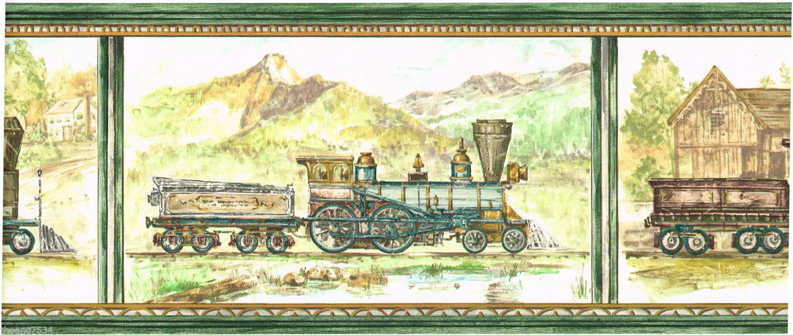 Antique Locomotive Steam Engine Train Scenic Green Wallpaper Border 1600x677