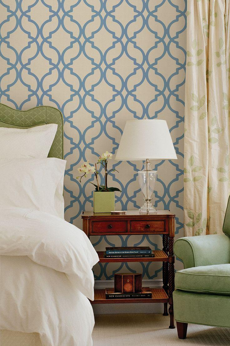 Harira Blue Moroccan Trellis Wallpaper Dreamy Beds Pinterest 736x1104