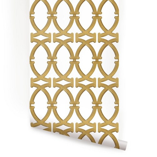Links Gold Peel and Stick Fabric Wallpaper Repositionable 500x500