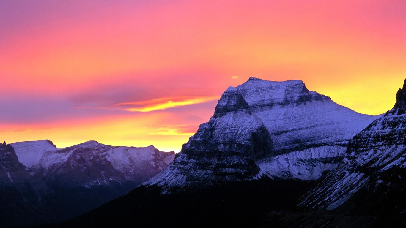 Download Glacier National Park at sunset wallpaper 1366x768