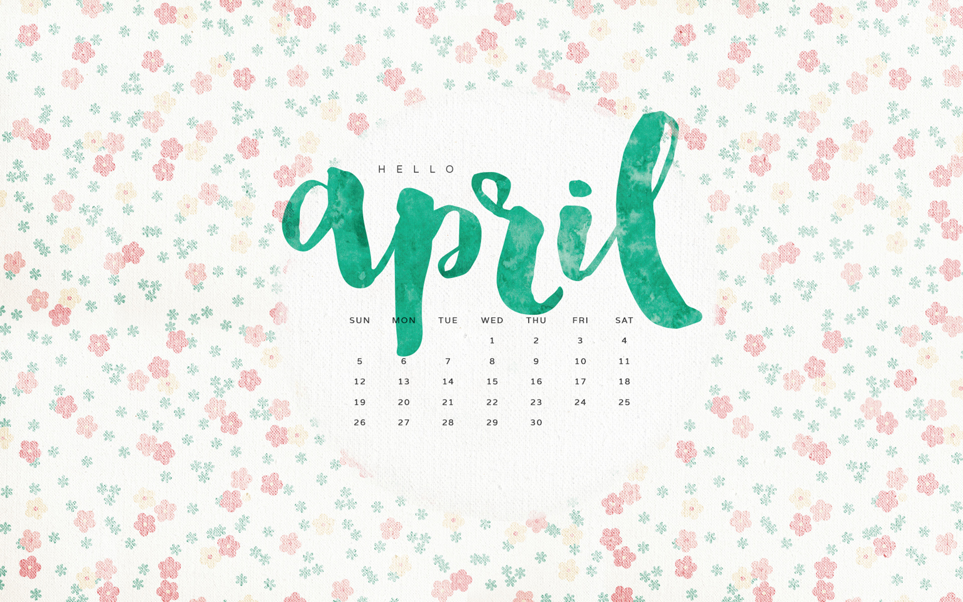 Wallpaper with April 2018 Calendar for PC iPad and SmartPhone 1920x1201