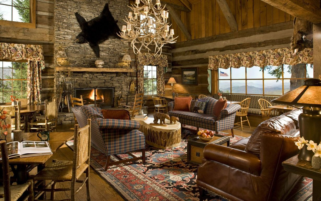 Download Mountain cabin in the USA wallpaper 1229x768