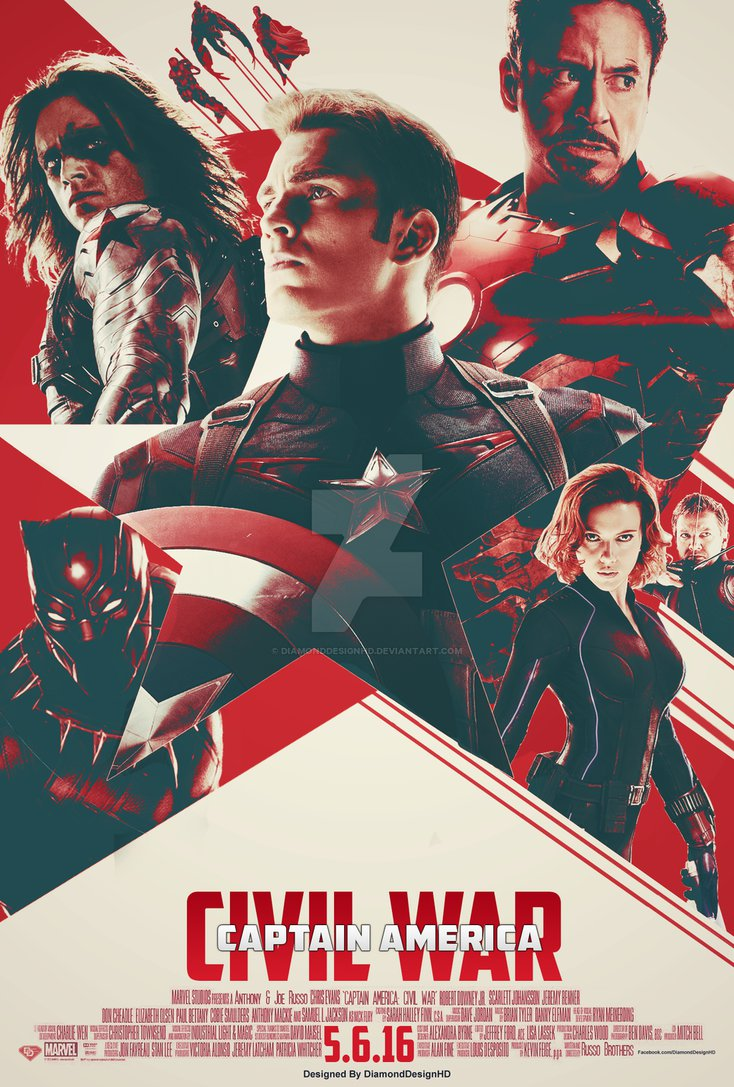Captain America Civil War FAN MADE Poster by DiamondDesignHD on 734x1087