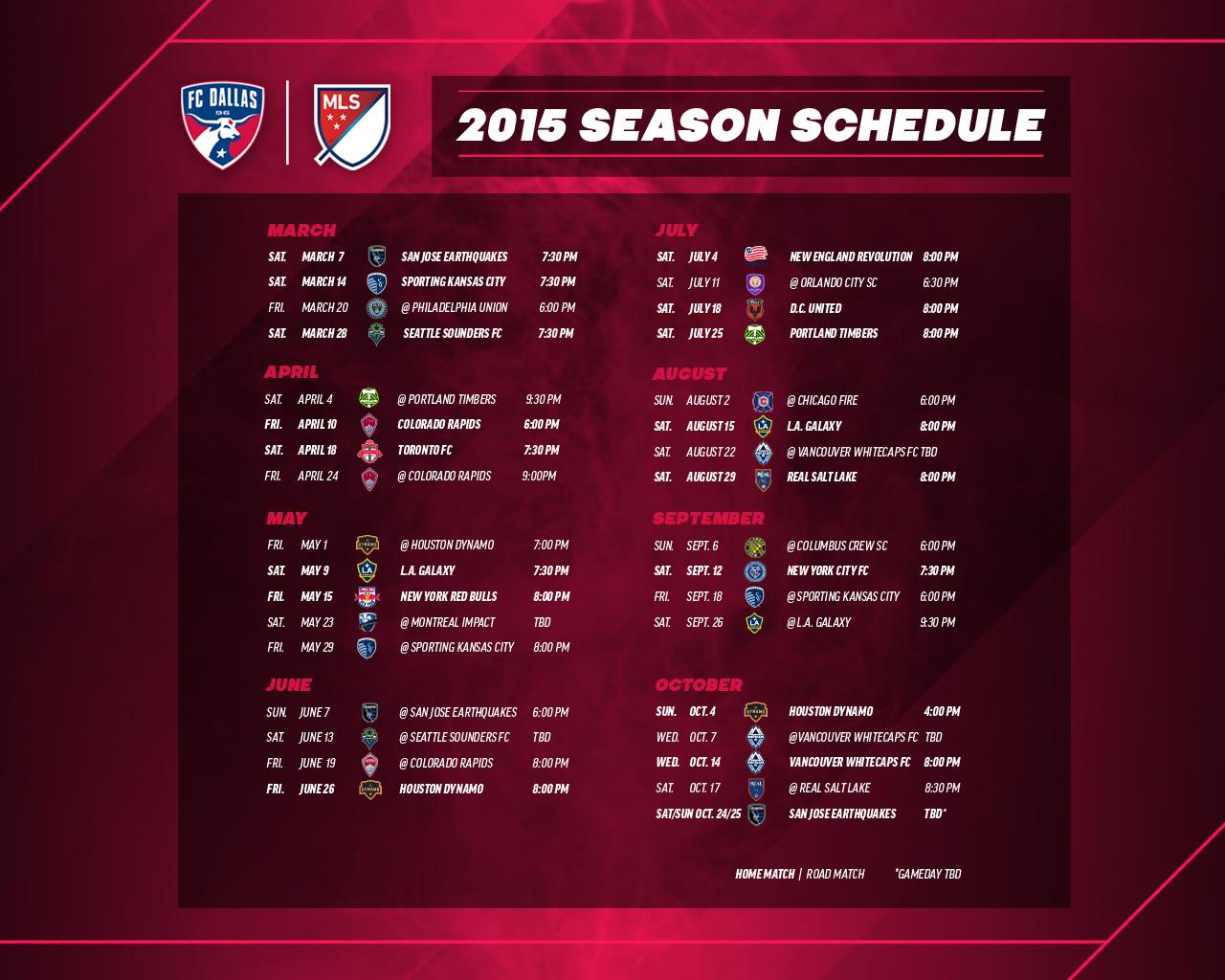 2015 FC Dallas Schedule Wallpapers | FC Dallas