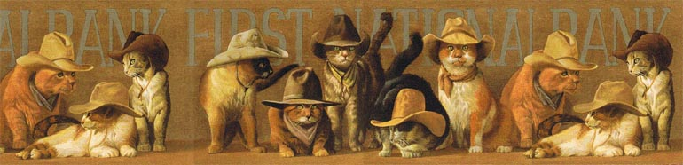 Bryan Moon COWBOY CAT in HATs Wallpaper Border EL49030B 770x186