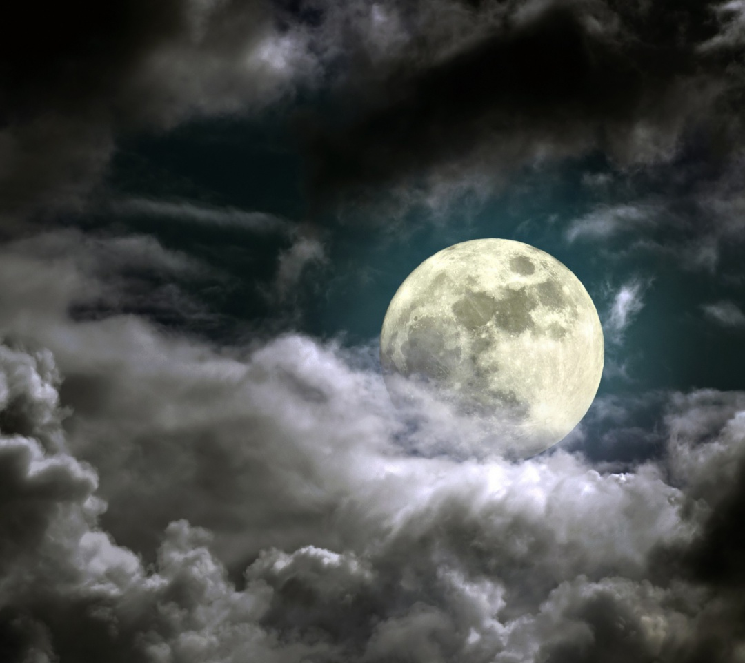 Cartoon Full Moon With Clouds