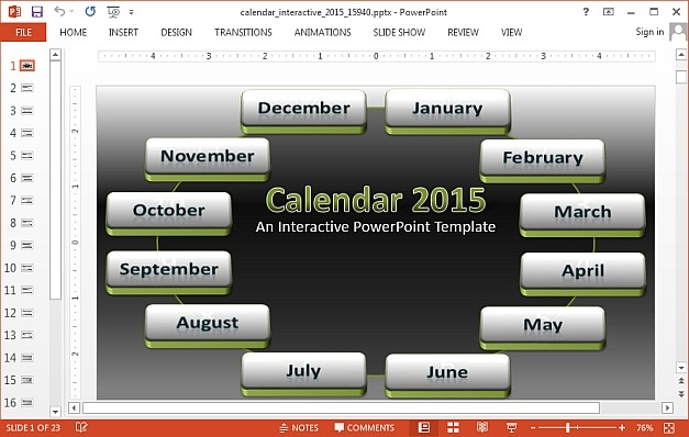 Interactive 2015 calendar template for PowerPoint 627x398