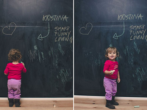 chalk art wall for her daughter with three rolls of chalkboard contact 500x374