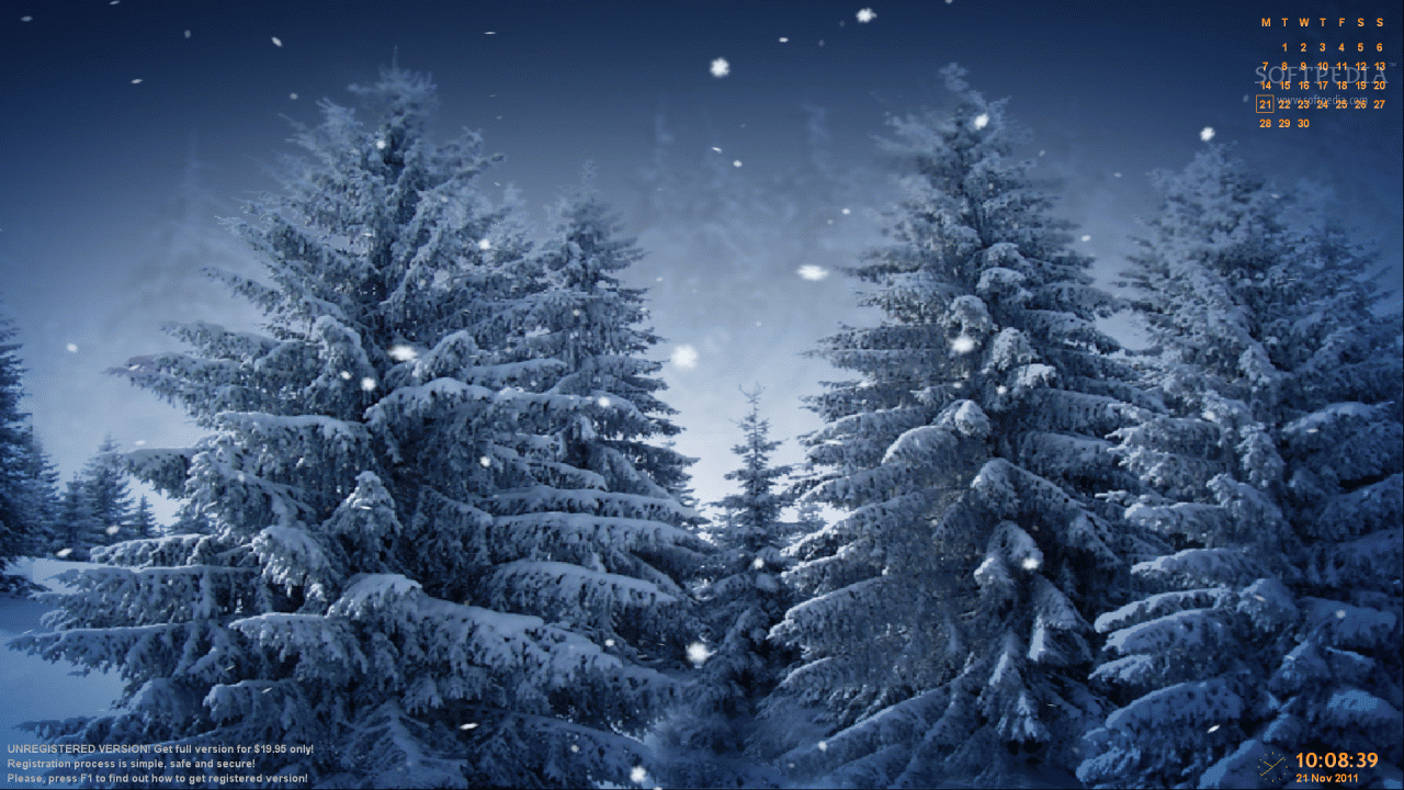 slowly coming down in mysterious snowy forest on your desktop 1280x720