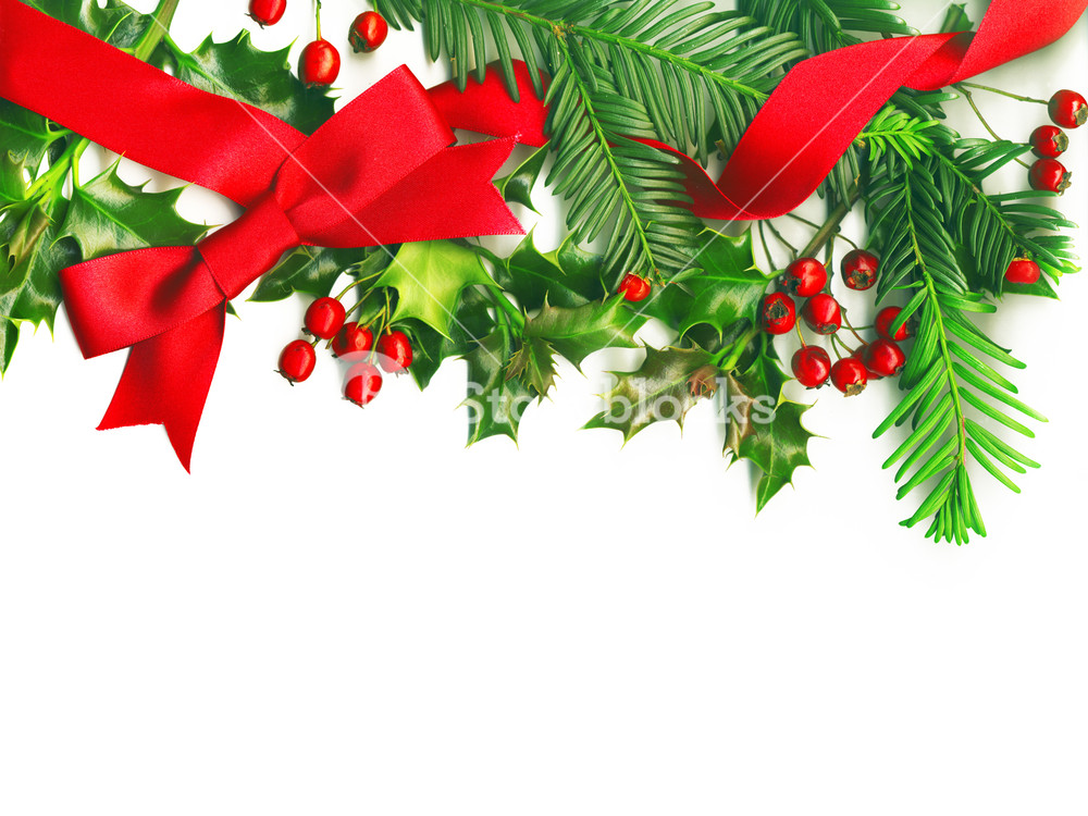 Christmas Border With White Empty Tag Isolated On White Background 1000x750