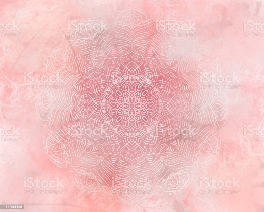 Living Coral Abstract Mandala Background Stock Illustration 1024x820