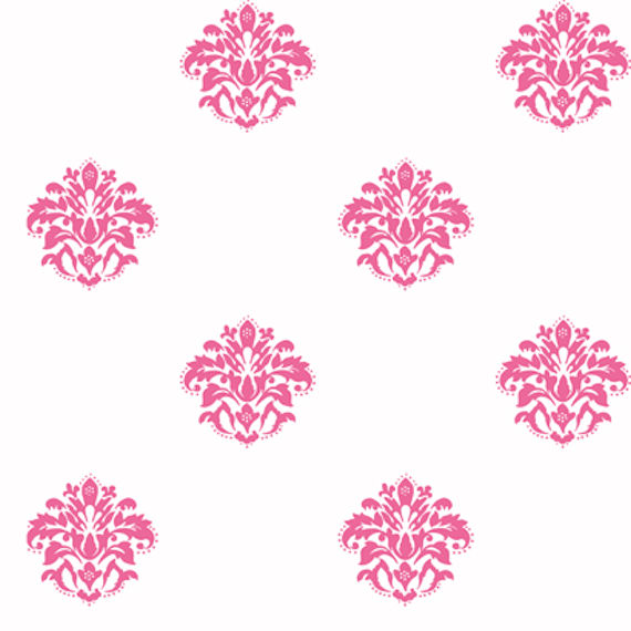 White with Pink Damask Spot Wallpaper   Wall Sticker Outlet 570x570