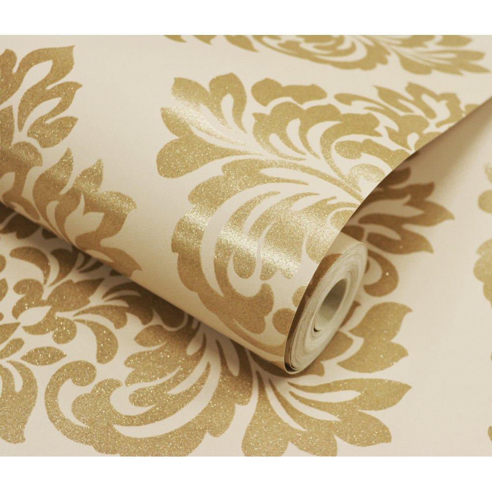 Decorline Sparkle Damask Designer FeatureWallpaper Cream Gold eBay 1000x1000