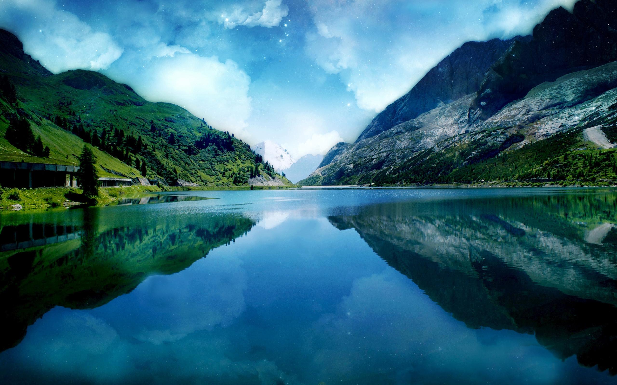 Blue Sky River Scene Wallpapers   2560x1600   2232025 2560x1600